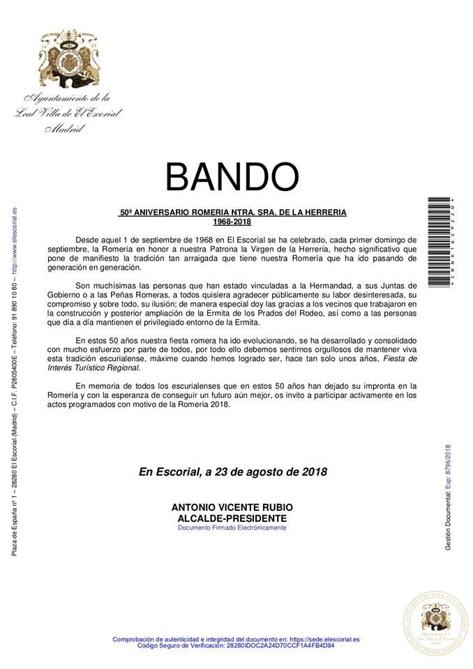 BANDO 50 AÑOS DE ROMERÍA