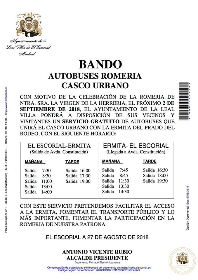 BANDO AYUNTAMIENTO AUTOBUSES ROMERIA CASCO URBANO