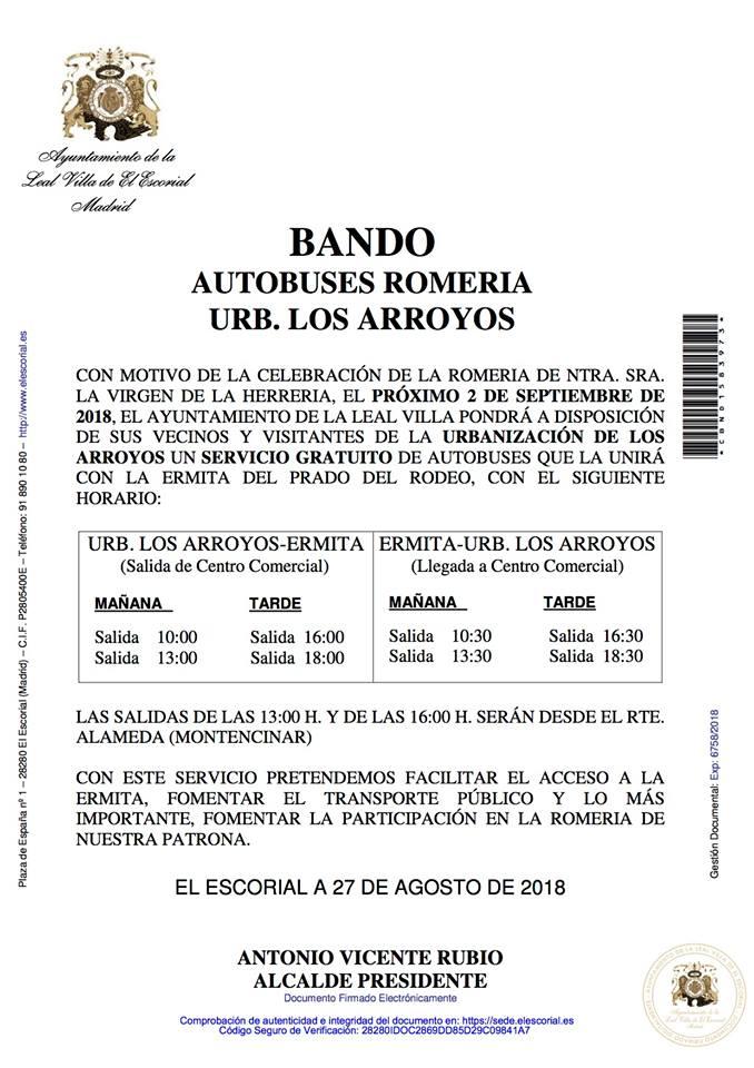 BANDO AYUNTAMIENTO AUTOBUSES ROMERIA URBANIZACIÓN LOS ARROYOS
