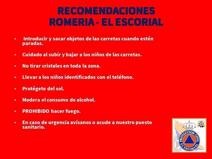 RECOMENDAIONES ROMERÍA EL ESCORIAL