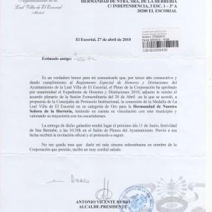 Carta Alcaldia concesión Medalla de Oro a Hermandad Virgen de la Herrería