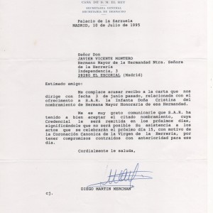 Carta Casa Real aceptación Hermana de Honor S.A.R. Infanta Dña. Cristina
