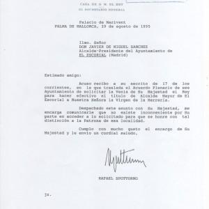 Carta Casa Real aceptación nombramiento Alcalde Mayor a la Virgen de la Herrería