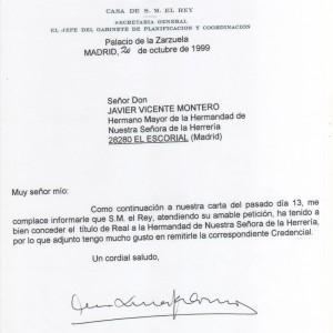 Carta Casa Real sobre titulo Real Hermandad