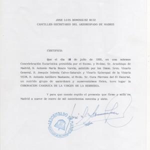 Certificado Arzobispado Coronación Can�