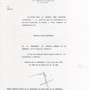 Credencial Casa Real aceptación nombramiento Hermana de Honor S.A.R. Infanta Dña. Cristina