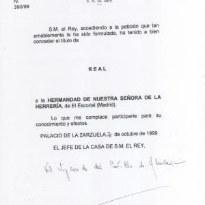 Credencial de la Casa Real nombramiento Real Hermandad