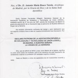 Credencial del Arzobispado nombramiento Patrona de la Asociaón Soldadura