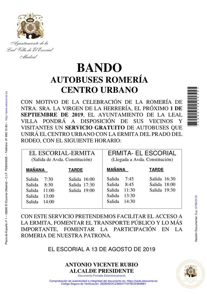 BANDO AUTOBUSES ROMERIA CENTRO URBANO