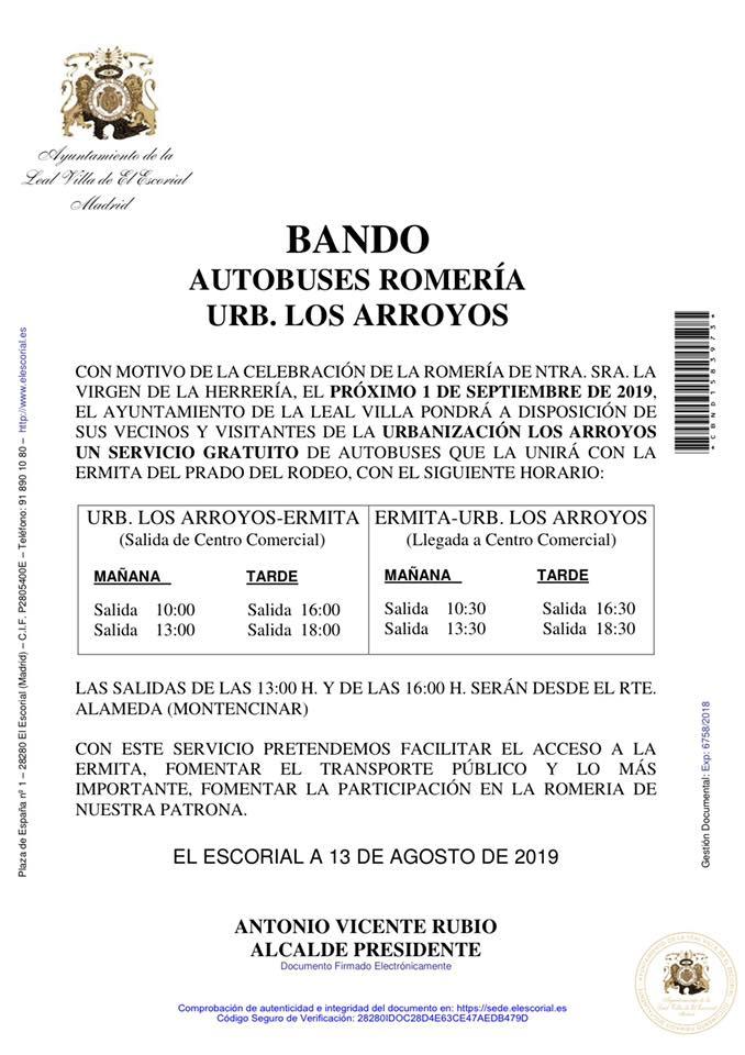 BANDO AUTOBUSES ROMERIA URB. LOS ARROYOS