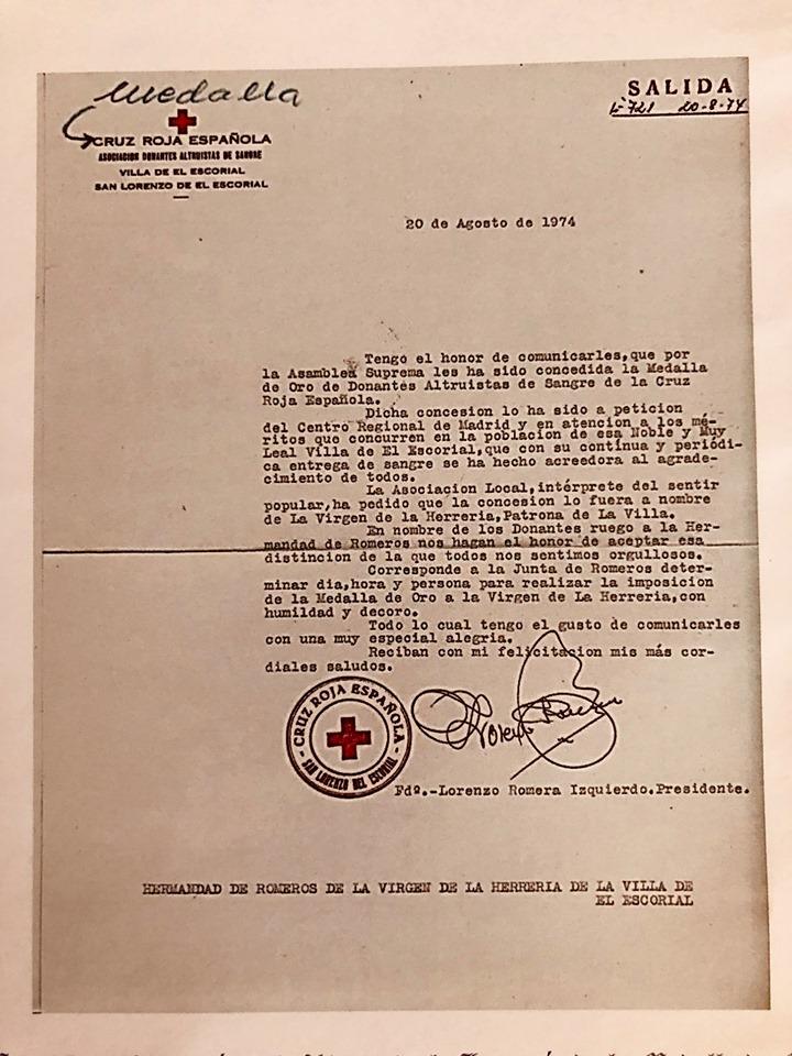 CARTA CONCESIÓN DE MEDALLA DE L A CRUZ ROJA