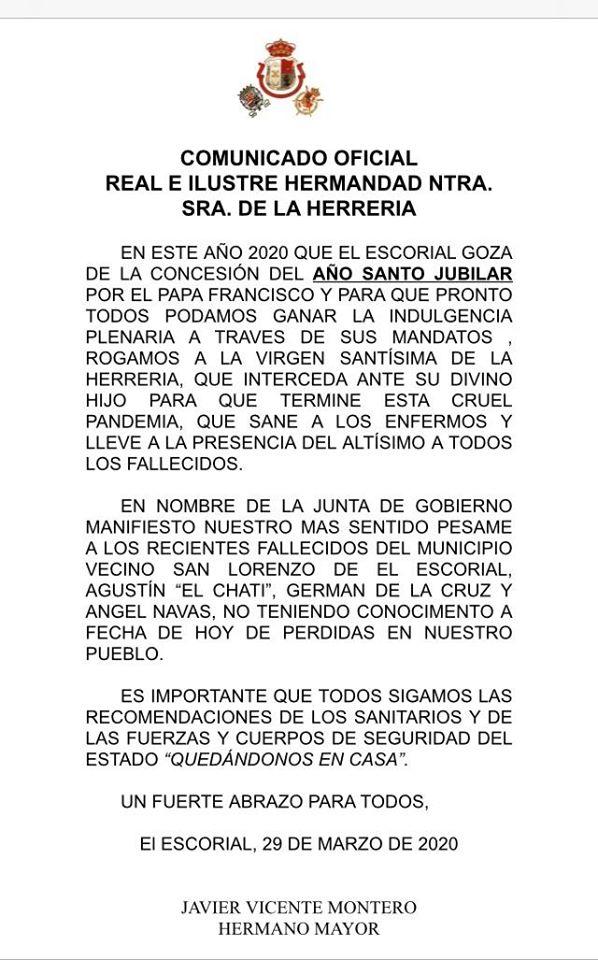 COMUNICADO OFICIAL HERMANDAD VIRGEN DE LA HERRERIA